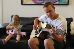 Daddy daughter jam session.
