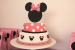 Two tier moist chocolate cake decorated in fondant icing.  I hand-made the cake topper using a thin foam for the Minnie Mouse head and textured pink card stock.