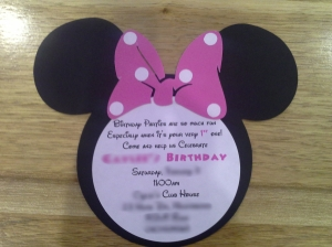 Birthday invitation purchased from Etsy. (NB:  I'm not listing the Etsy seller - she had little attention to detail and stuffed up several aspects of the order).