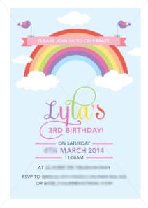 Beautiful rainbow invitations by Lauren at Evie the Elephant. Fantastic quality and customer service. Go to http://evietheelephant.blogspot.com.au/ or https://www.facebook.com/EvieTheElephant for more information.